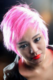 Portrait a pretty young pink hair Royalty Free Stock Photography