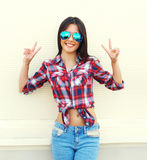 Portrait of pretty young slim woman in sunglasses Royalty Free Stock Image