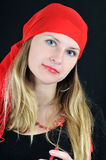 Portrait of pretty young smiling fortuneteller Royalty Free Stock Image