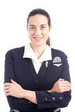 Portrait of a pretty young stewardess Stock Images