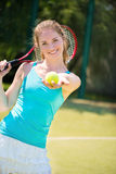 Portrait of  pretty young tennis player Stock Images