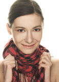 Portrait of  pretty young woman. In pink and black scarf Royalty Free Stock Photography