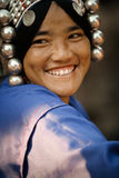 Portrait of a pretty young woman from the Akha ethnic group. Mae Salong, Thailand - January 28, 2008 Royalty Free Stock Photography