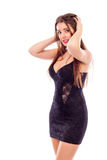 Portrait of a pretty young woman with black dress Stock Photography