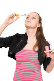 Portrait of pretty young woman blow bubbles. Isolated Royalty Free Stock Photos