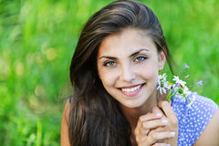 Portrait pretty young woman bouquet Stock Image