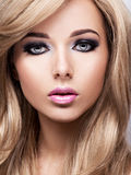 Portrait of pretty young woman with bright makeup. Beautiful  br Stock Images