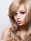 Portrait of pretty young woman with bright makeup. Beautiful  br Stock Image