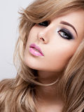Portrait of pretty young woman with bright makeup. Beautiful br royalty free stock images