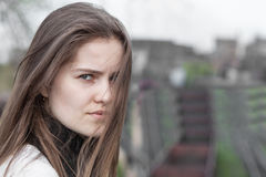 Portrait pretty young woman. Closeup portrait pretty young woman outdoors Stock Photography