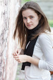 Portrait pretty young woman. Closeup portrait pretty young woman outdoors Royalty Free Stock Photos