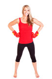 Portrait of pretty young woman doing boxing exercise Royalty Free Stock Photography