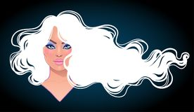 Portrait of pretty young woman with long curly trendy white hair Royalty Free Stock Photo