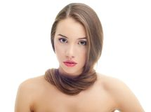 Portrait of pretty young woman with long hair Stock Images