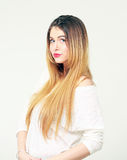 Portrait of pretty young woman with long hair Stock Photo