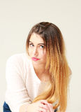 Portrait of pretty young woman with long hair Royalty Free Stock Image