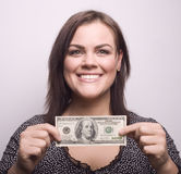 Portrait of pretty young woman with money Royalty Free Stock Photo