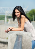 Portrait of pretty young woman outdoors Stock Photography