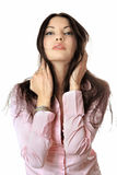 Portrait of pretty young woman in pink shirt Stock Image
