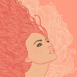Portrait of pretty young woman in profile. Beauty Salon: Portrait of pretty young woman in profile view wavy red hair. Vector illustration Stock Photo