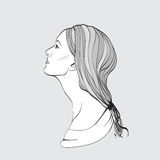 Portrait of pretty young woman in profile view. Vector illustrat Royalty Free Stock Images