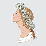 Portrait of pretty young woman in profile view. Vector illustrat Stock Photo