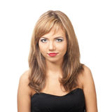 Portrait of  pretty young woman with red lipstick Stock Images