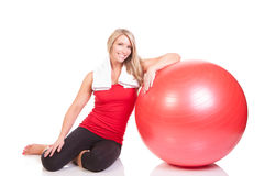 Portrait of pretty young woman resting after exercise Royalty Free Stock Photos