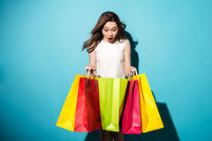 Portrait of a pretty young woman shopaholic with colorful bags Royalty Free Stock Image