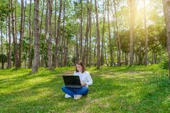 Portrait of pretty young woman sitting on green grass in park with legs crossed during summer day while using laptop stock photo