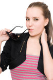 Portrait of pretty young woman with sunglasses Stock Photos