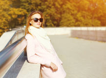 Portrait pretty young woman in warm sunny autumn day Royalty Free Stock Image