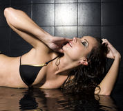 Portrait of pretty young woman with wet hair and lingerie Stock Image