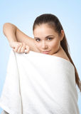 Portrait of pretty young woman with white towel Royalty Free Stock Photo