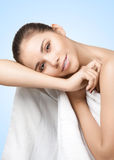 Portrait of pretty young woman with white towel Stock Photography