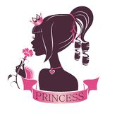 Portrait of a Princess with flower. Portrait of a beautiful princess isolated on a white background stock illustration
