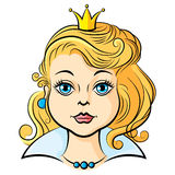 Portrait princess girl. Vector illustrations of cartoon portrait princess girl Royalty Free Stock Photos