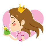 Portrait Princess Kissing Frog Royalty Free Stock Photography