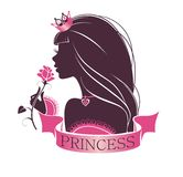 Portrait of a Princess with rose. Portrait of a beautiful princess isolated on a white background vector illustration