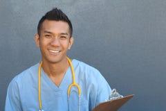 Portrait principal de tir de plan rapproché de professionnel sûr de soins de santé avec l'espace de copie du côté droit Photographie stock