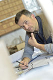 Portrait of professional carpenter at work royalty free stock images