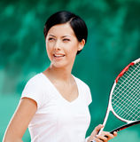 Portrait of professional female tennis player Royalty Free Stock Images