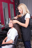 Portrait of professional hairdresser at work in beauty salon Royalty Free Stock Image