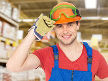 Portrait of the professional handyman at store Stock Photography