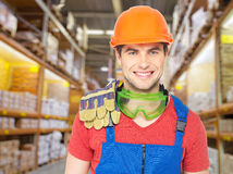 Portrait of the professional handyman at store Royalty Free Stock Photos