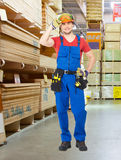 Portrait of the professional handyman at store Stock Images