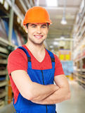 Portrait of the professional handyman at store Royalty Free Stock Photo