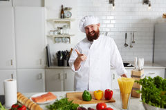 Portrait of professional male chef in uniform Stock Photography