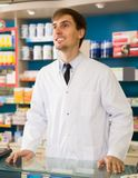 Portrait of professional male pharmacists. Working in modern farmacy Stock Image