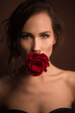 Portrait of professional model girl with red rose. Beautiful professional model keeping red rose in her mouth. Pretty brown-haired lady looking directly at the Royalty Free Stock Photography